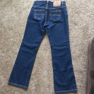 Express jeans, low rise flare, size 3/4s